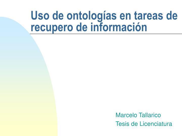 uso de ontolog as en tareas de recupero de informaci n