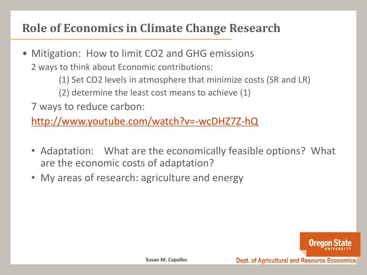 Role of Economics in Climate Change Research