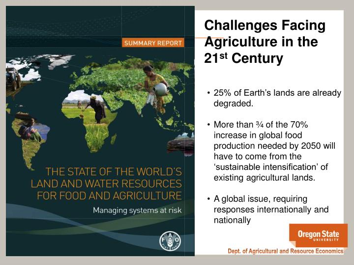 Challenges Facing Agriculture in the 21