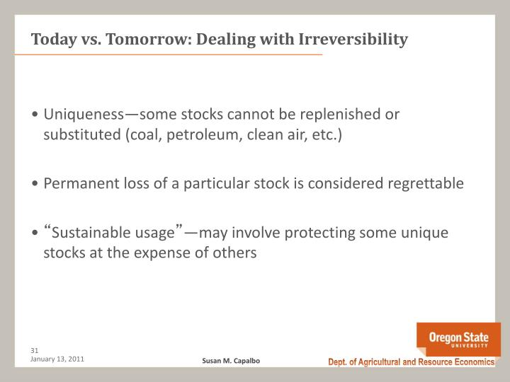 Today vs. Tomorrow: Dealing with Irreversibility