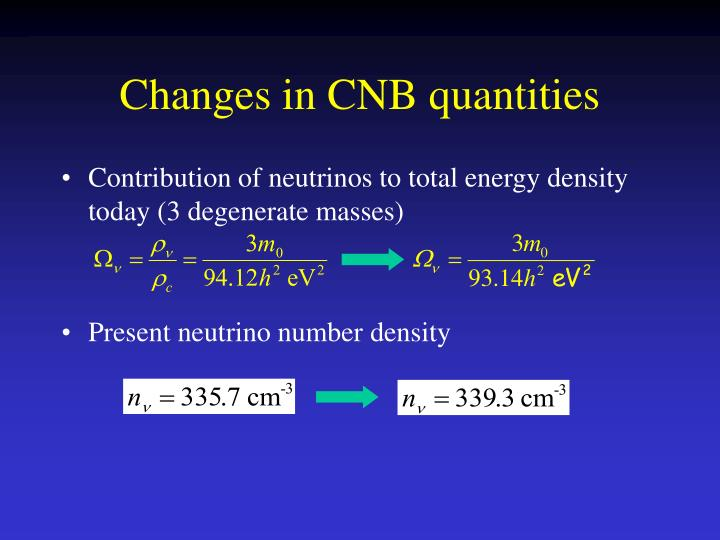 Contribution of neutrinos to total energy density today (3 degenerate masses)