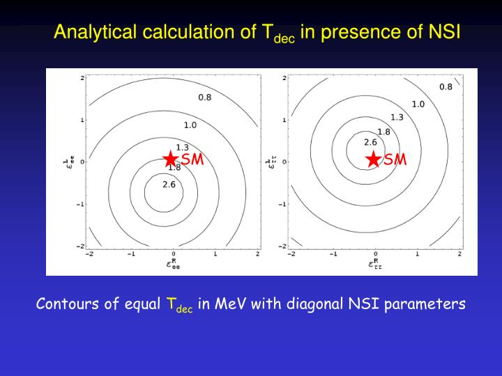 Analytical calculation of T