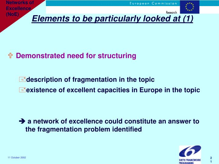 Elements to be particularly looked at (1)