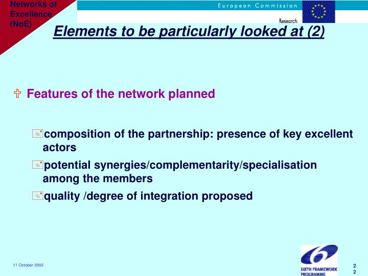 Elements to be particularly looked at (2)