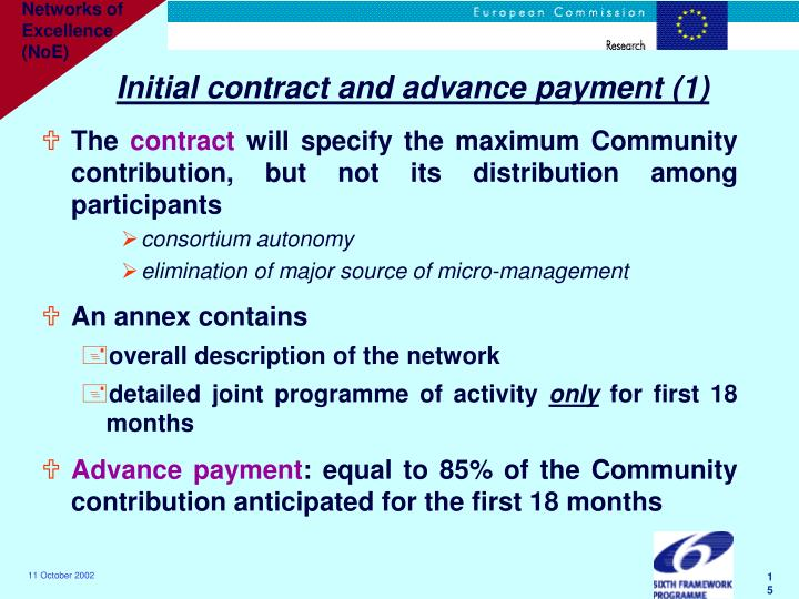 Initial contract and advance payment (1)