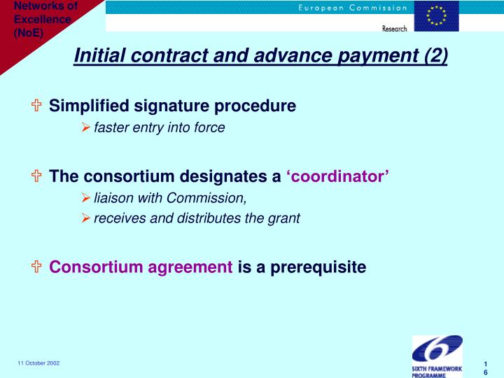 Initial contract and advance payment (2)