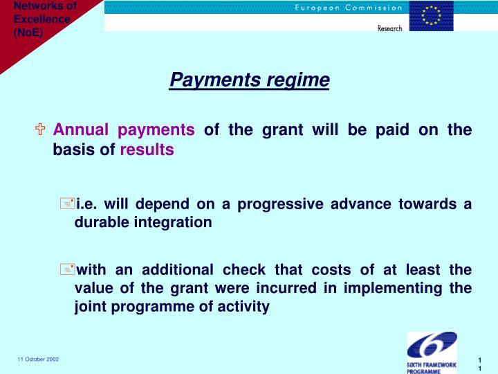 Payments regime