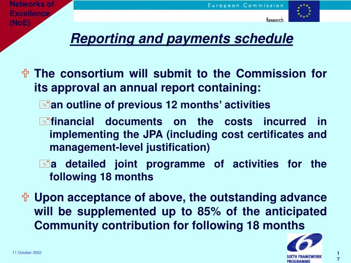 Reporting and payments schedule