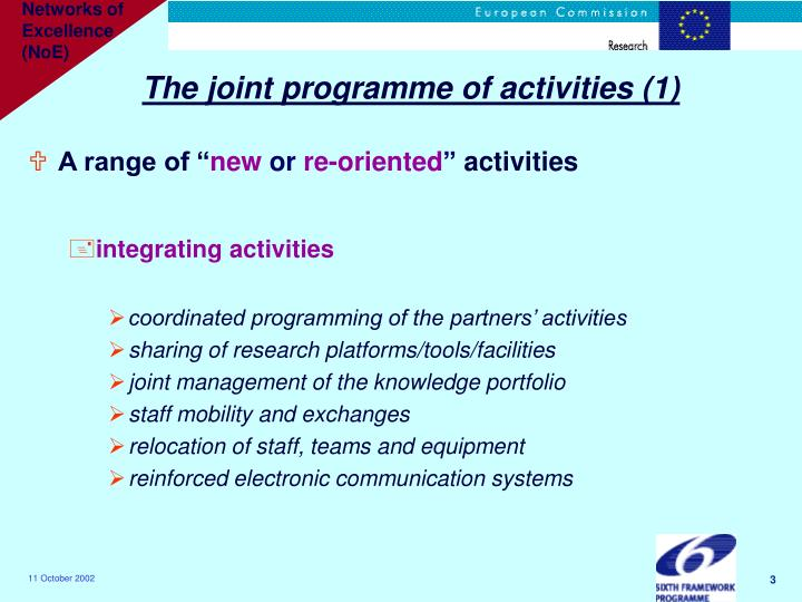 The joint programme of activities (1)
