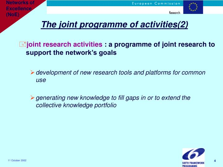The joint programme of activities(2)