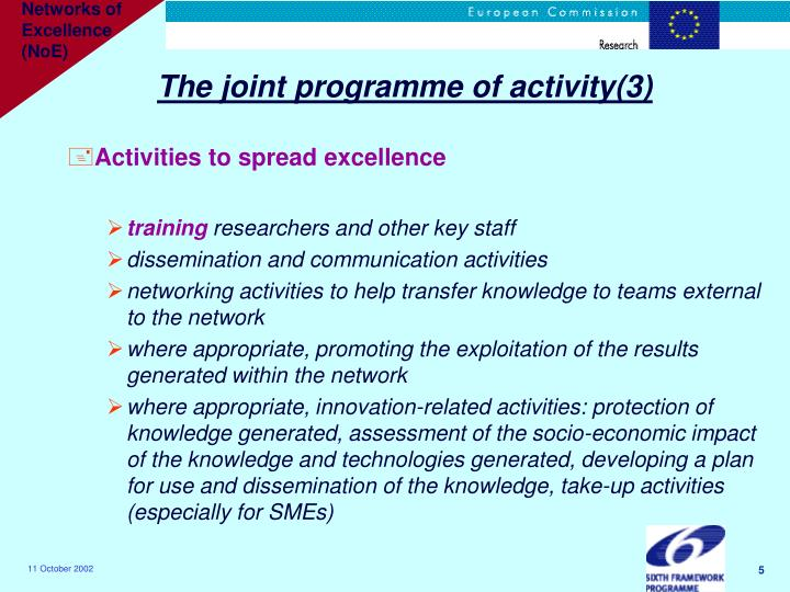 The joint programme of activity(3)