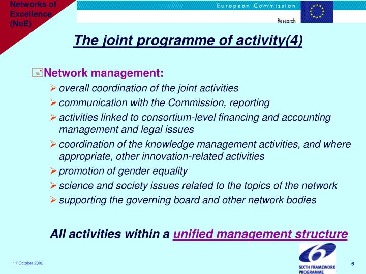 The joint programme of activity(4)