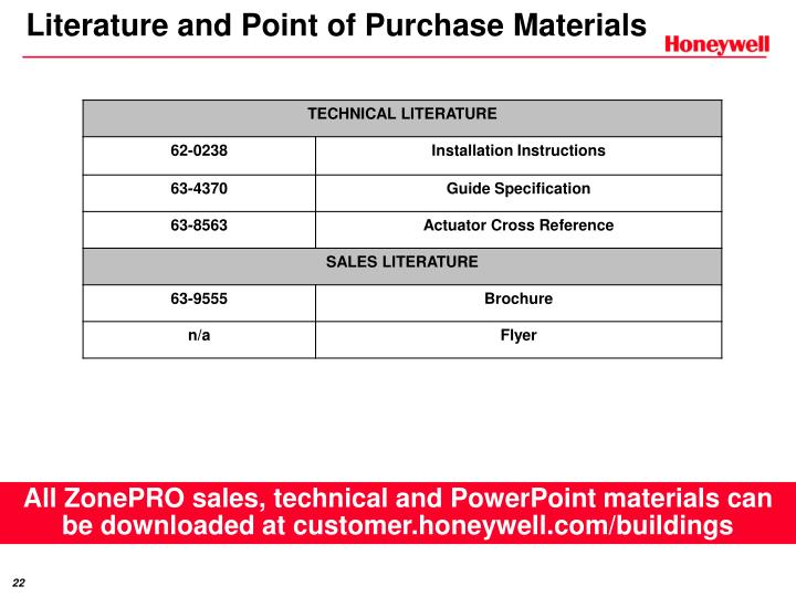 Literature and Point of Purchase Materials