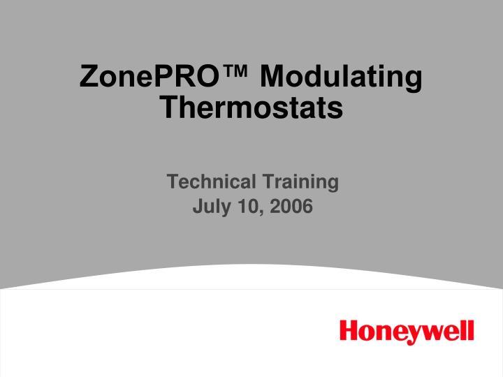 ZonePRO™ Modulating Thermostats