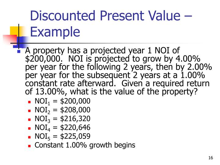 Discounted Present Value – Example