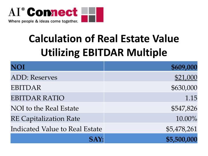 Calculation of Real Estate Value Utilizing EBITDAR Multiple
