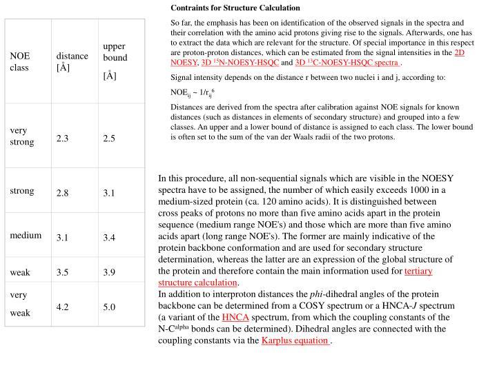 Contraints for Structure Calculation