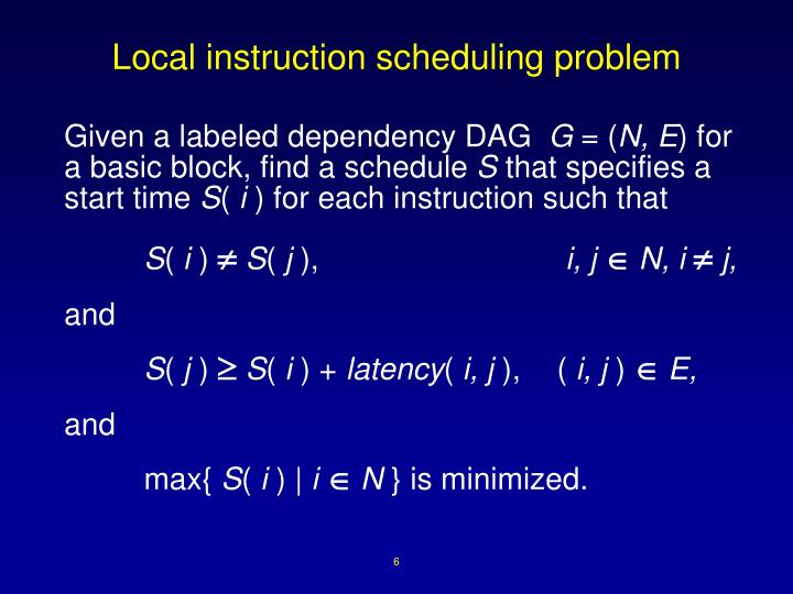 Local instruction scheduling problem