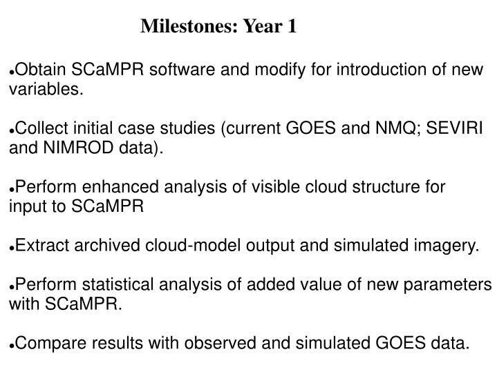 Milestones: Year 1