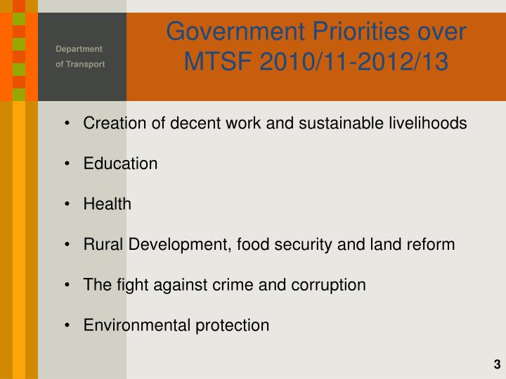 Government priorities over mtsf 2010 11 2012 13