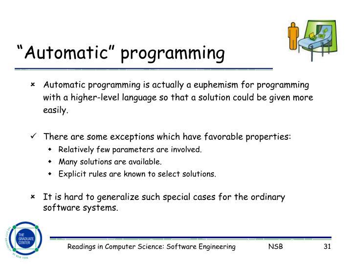 """Automatic"" programming"