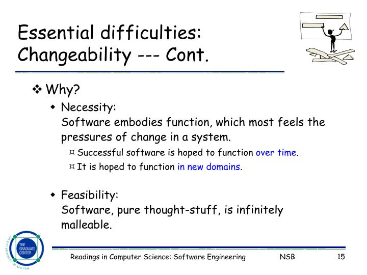 Essential difficulties: Changeability --- Cont.