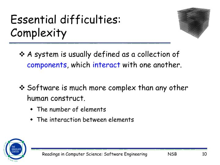 Essential difficulties: Complexity