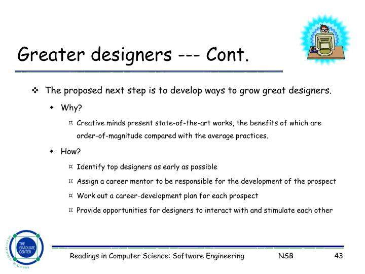 Greater designers --- Cont.