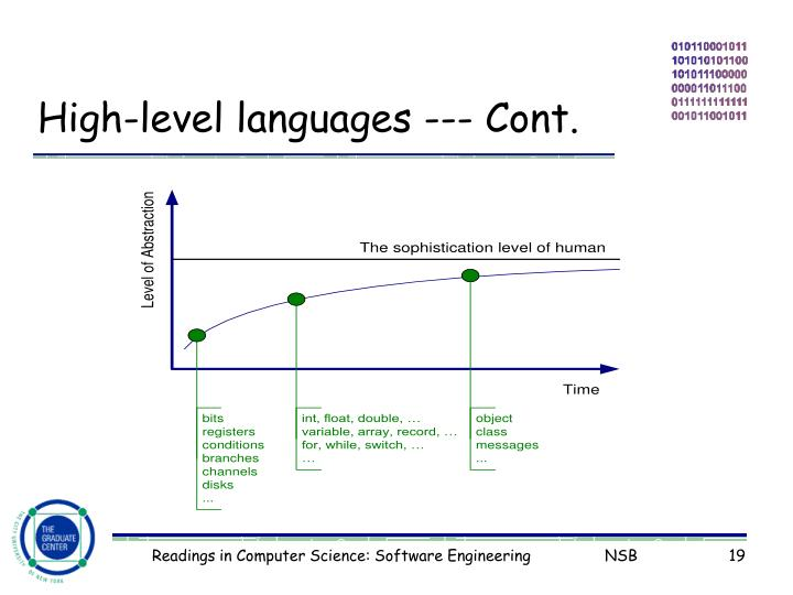 High-level languages --- Cont.