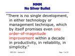 mmm no silver bullet