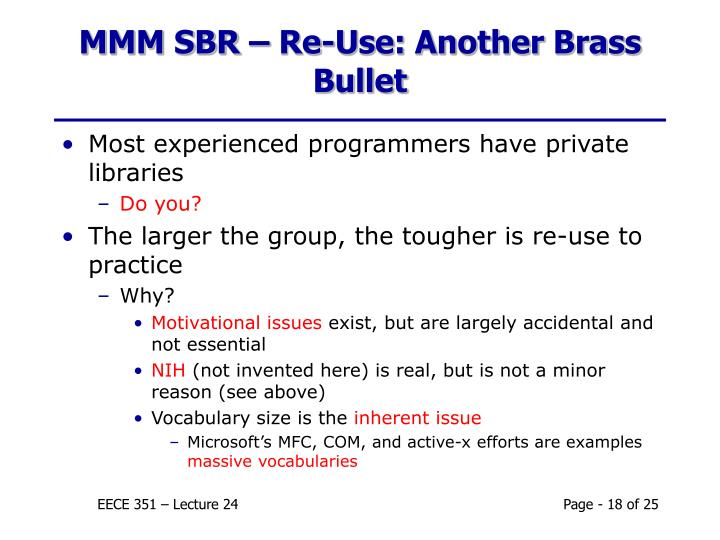 MMM SBR – Re-Use: Another Brass Bullet
