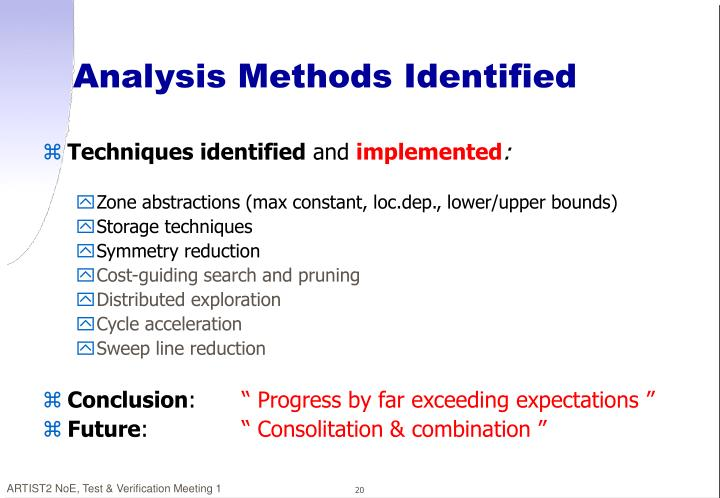 Analysis Methods Identified