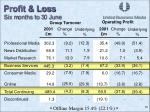 profit loss six m onths to 3 0 june