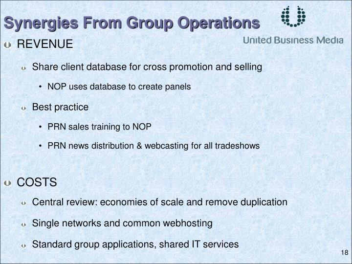 Synergies From Group Operations