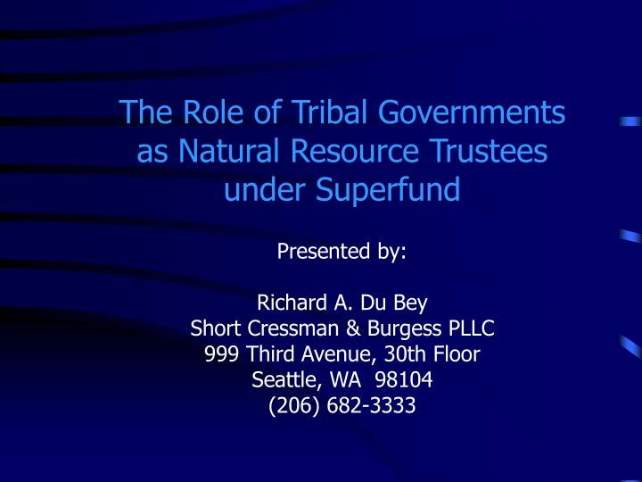 The Role of Tribal Governments