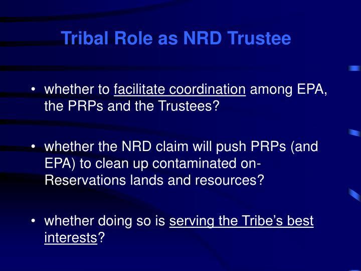 Tribal Role as NRD Trustee