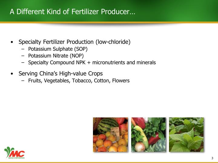 A different kind of fertilizer producer