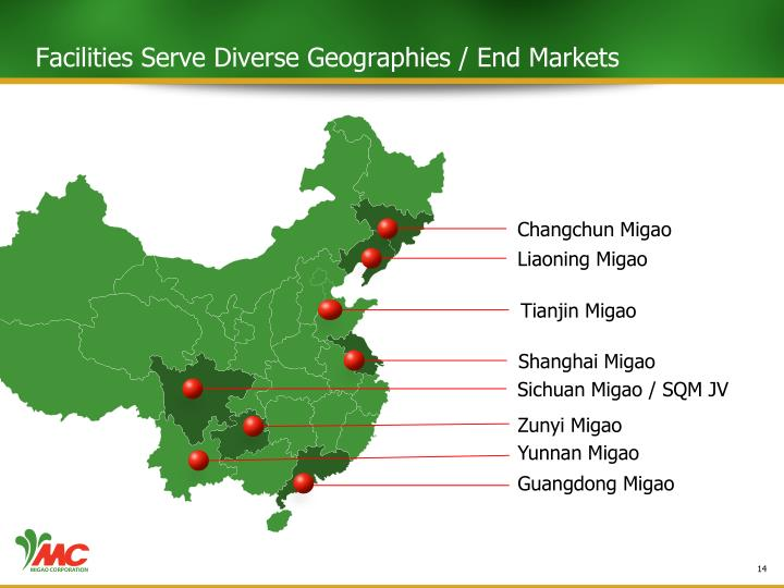 Facilities Serve Diverse Geographies / End Markets