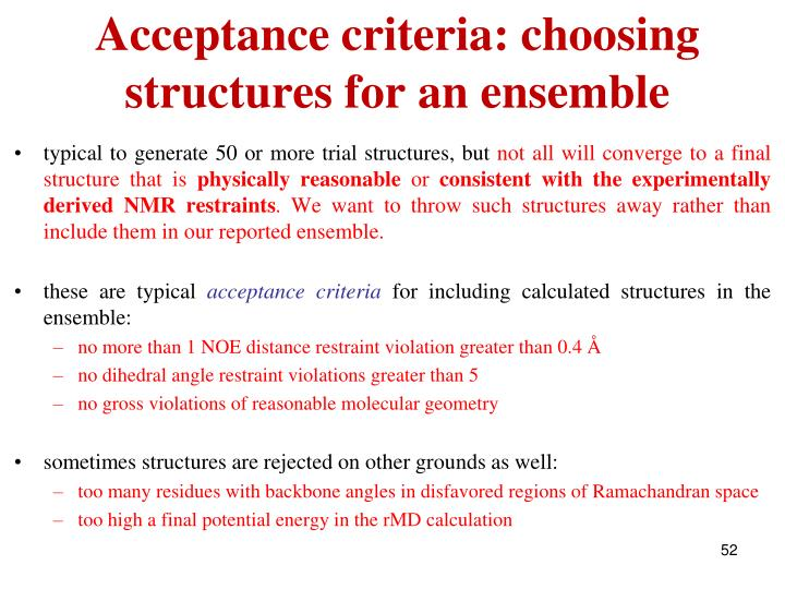 Acceptance criteria: choosing structures for an ensemble