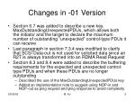 changes in 01 version