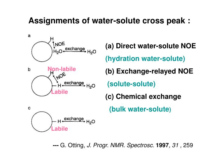 Assignments of water-solute cross peak :