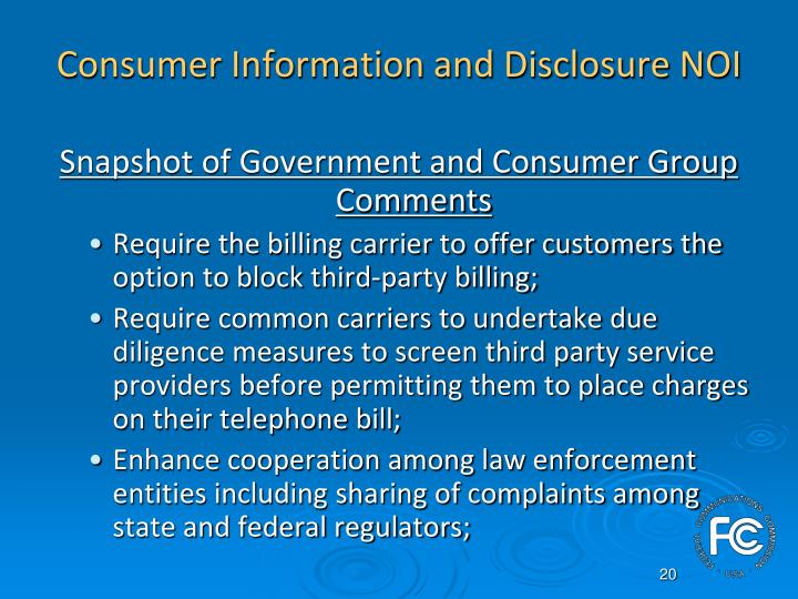 Consumer Information and Disclosure NOI