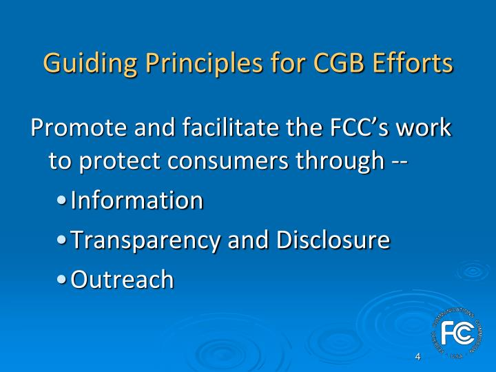 Guiding Principles for CGB Efforts