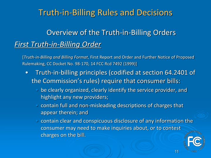 Truth-in-Billing Rules and Decisions