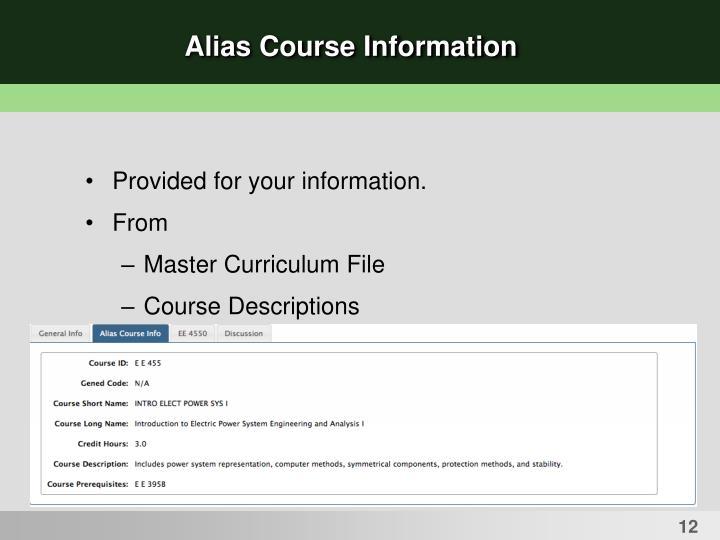 Alias Course Information