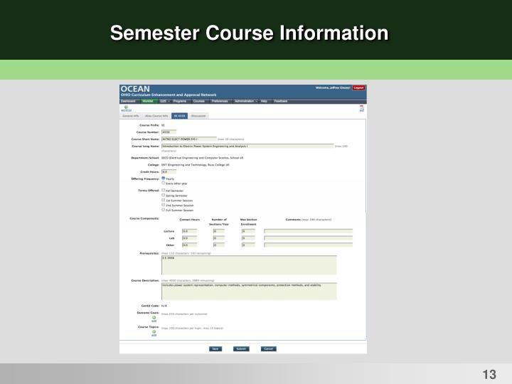 Semester Course Information