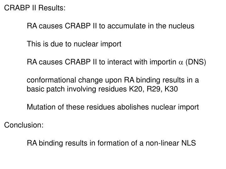 CRABP II Results: