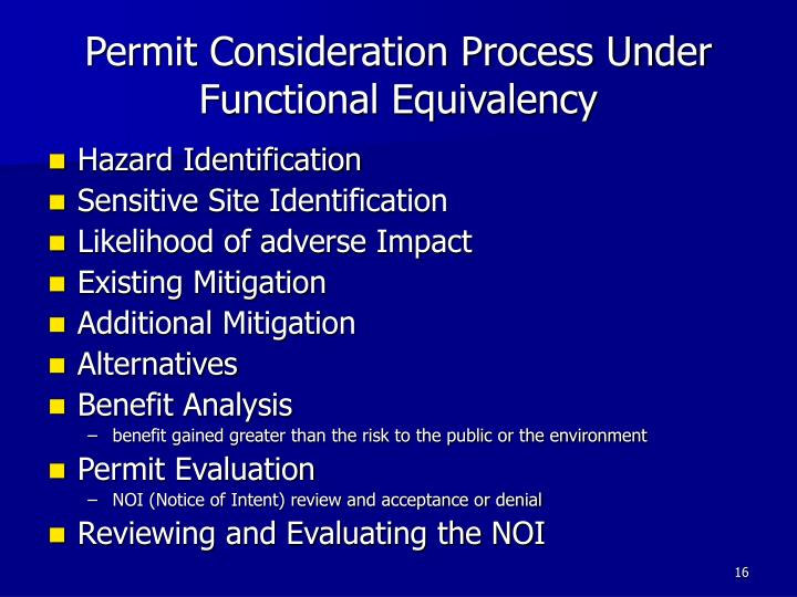 Permit Consideration Process Under Functional Equivalency