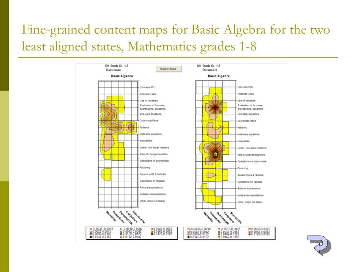 Fine-grained content maps for Basic Algebra for the two least aligned states, Mathematics grades 1-8