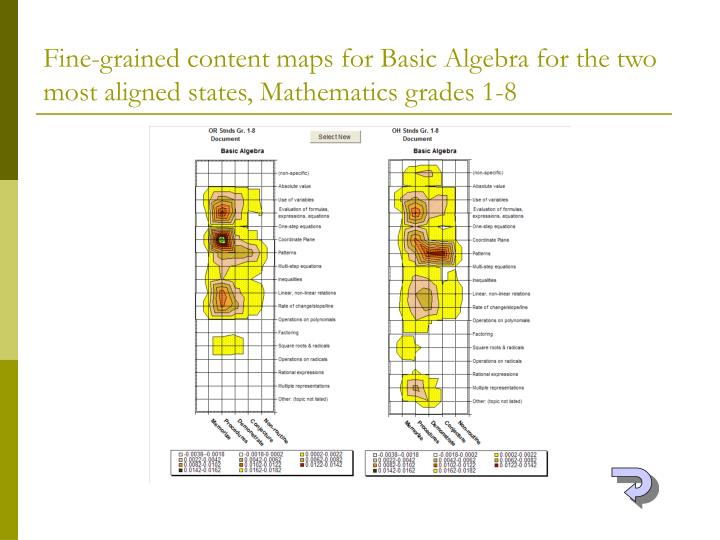 Fine-grained content maps for Basic Algebra for the two most aligned states, Mathematics grades 1-8